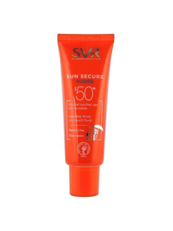 Fluide toucher sec fini invisible SPF50+, adapté aux peaux normales à mixtes.