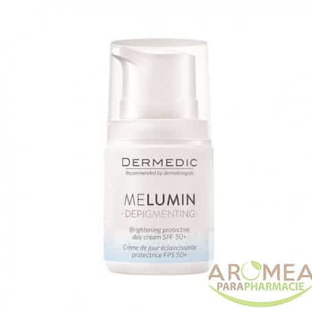 DERMEDIC MELUMN La crème éclaircissante de jour enrichie Ingrédients actifs pour eclaircir le teint tel que complexe MeluminTM Tristage (arbutine, Lightderm, vitamine C, niacinamide), filtres UV, vitamine E, huile de coco.