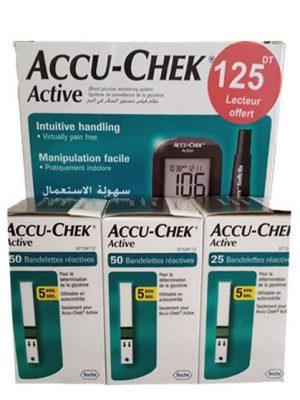 Glucometre accu chek active en promo Kit+ 125d+ stylo autopiqueur + 10 lancettes Prix 125d