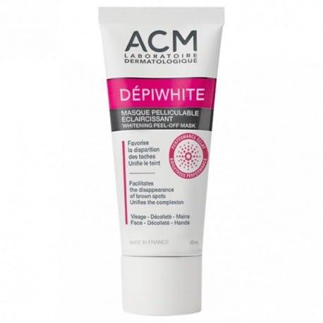 Venez à bout de taches pigmentaires cutanée avec le Masque pelliculable éclaircissant Depiwhite, des Laboratoires ACM. Contenance: 40ml