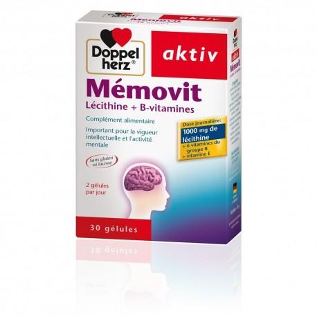 Doppelherz aktiv Mémovit est une combinaison intelligente de lécithine, de vitamine E et de vitamine B élaborée pour soutenir le métabolisme et le fonctionnement de cellules nerveuses .