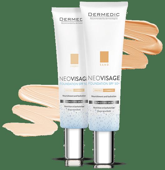 dermedic neovisage foundation spf50 NEOVISAGE Maquillage dermocosmétique pour peaux sensibles La peau sensible se caractérise par une tendance à l'irritation, aux rougeurs et autres imperfections. Les cosmétiques pour ce type de peau doivent être doux, sûrs et efficaces pour couvrir les imperfections. Les séries Neovisage sont une combinaison de soins doux et de maquillage sûr en un. Ils sont dédiés aux peaux sensibles, hypersensibles et hyperactives.