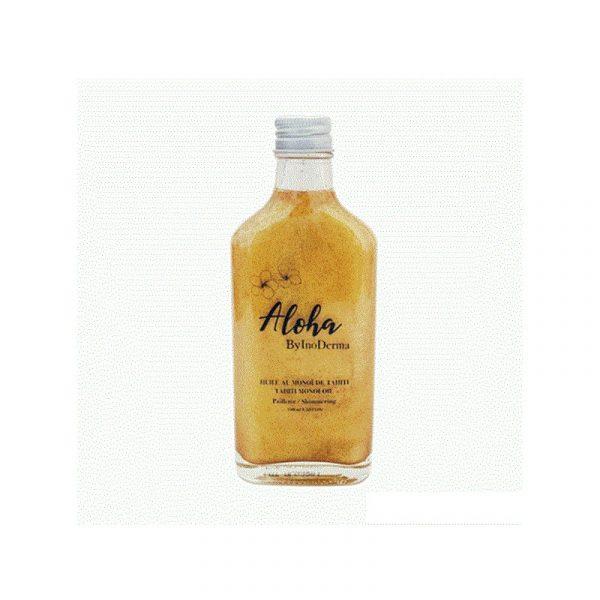 Aloha est une huile au Monoï de Tahiti d'origine Polynésienne, obtenue grâce à la macération de fleurs de Tiaré dans l'huile de noix de coco. Dotée d'un parfum doux et envoûtant, Aloha est appréciée pour ses vertus hydratantes, adoucissantes et assouplissantes. Aloha facilite le bronzage en empêchant la peau de se dessécher. Aloha illumine la peau et sublime le bronzage. Elle s'utilise également en après-soleil. Conseils d'utilisation: Il est recommandé d'Appliquer Aloha sur le corps et les cheveux. Masser délicatement pour faire pénétrer le soin. Ne pas rincer. Agiter le flacon avant utilisation. A base d'huile de coco, l'huile au monoï se solidifie dès que la température descend au-dessous de 20°C. Cela n'affecte pas ses propriétés, il suffit de la réchauffer avant de l'utiliser. Composition: Extrait de fleur de Tiaré : Hydratante. Traite et prévient les cheveux fragilisés et desséchés, permet de réaliser un parfait bronzage, et de traiter les coups de soleil. Noix de coco: Nourrissante et réparatrice.